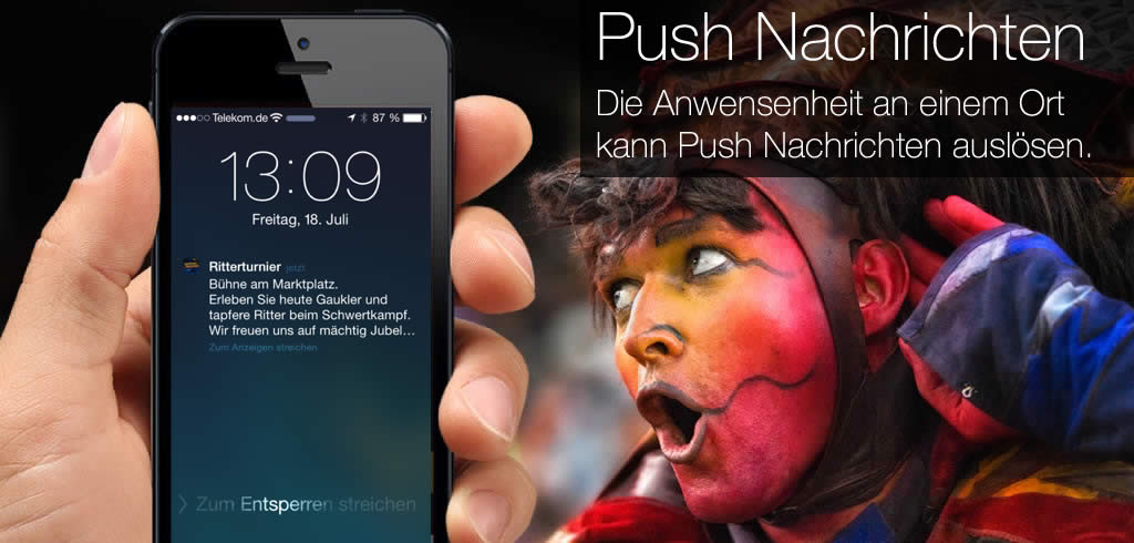 iBeacon und Push Notification Technologie Kaltenberger Rittertrunier iPhone App